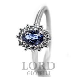 Anello Donna in Oro Bianco con Zaffiro e Diamanti ct. 0.55+0.22 - Davite & Delucchi