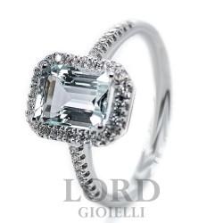 Anello Donna in Oro Bianco con Acquamarina 1,40 e Diamanti 0,23 - Davite & Delucchi