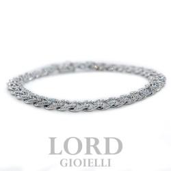 Bracciale Donna in Oro Bianco Groumette con Diamanti ct. 3,04 GVS- Davite & Delucchi