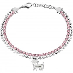 Bracciale Tennis Donna Acciaio con pietre rosa e pendente cane- Sector