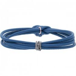Bracciale Nappa Blu Mini Oro Bianco 9kt Brunito - misura L - Rubinia Gioielli